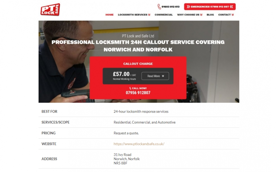 screenshot from website Locksmith Reviewed