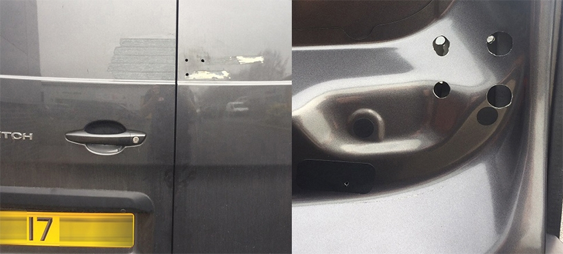 The damage caused to the van door by the failed DIY job.