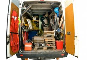 tools in the back of a van